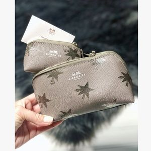 COACH Gray Silver Stars Travel Cosmetic Bag Set